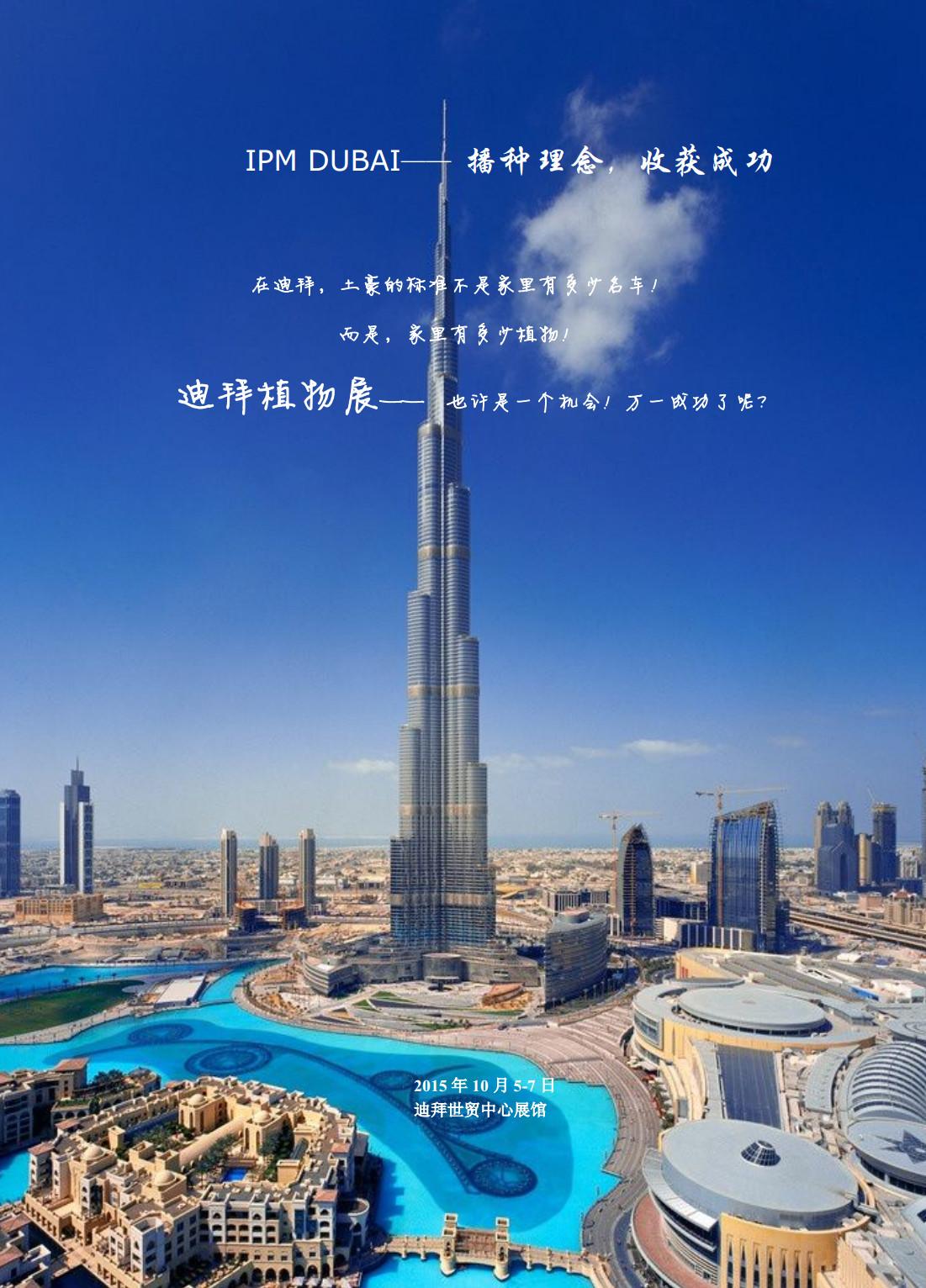 迪拜植物展,也许是一个机会!万一成功了呢?在迪拜,土豪的标准不是家里有多少名车,而是家里有多少植物